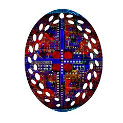 Board Interfaces Digital Global Oval Filigree Ornament (two Sides) by Sapixe