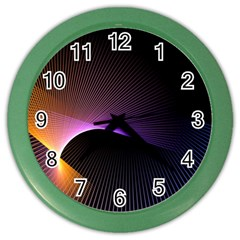 Star Graphic Rays Movement Pattern Color Wall Clocks by Sapixe