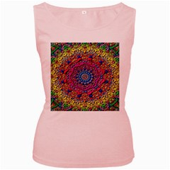 Background Fractals Surreal Design Women s Pink Tank Top by Sapixe