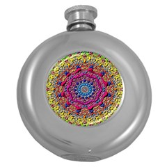Background Fractals Surreal Design Round Hip Flask (5 Oz) by Sapixe
