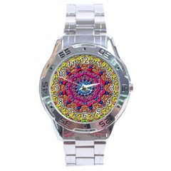 Background Fractals Surreal Design Stainless Steel Analogue Watch by Sapixe