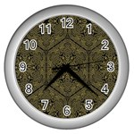 Texture Background Mandala Wall Clocks (Silver)  Front