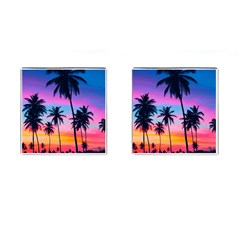 Sunset Palms Cufflinks (square) by goljakoff