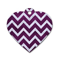 Chevron9 White Marble & Purple Leather Dog Tag Heart (one Side) by trendistuff