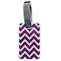 Chevron9 White Marble & Purple Leather Luggage Tags (two Sides) by trendistuff