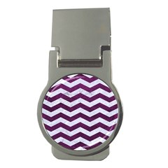 Chevron3 White Marble & Purple Leather Money Clips (round)