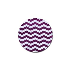 Chevron3 White Marble & Purple Leather Golf Ball Marker (4 Pack) by trendistuff