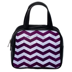 Chevron3 White Marble & Purple Leather Classic Handbags (one Side) by trendistuff
