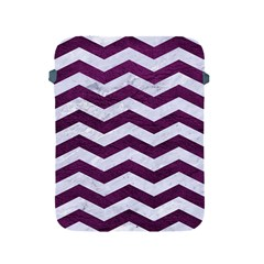 Chevron3 White Marble & Purple Leather Apple Ipad 2/3/4 Protective Soft Cases by trendistuff