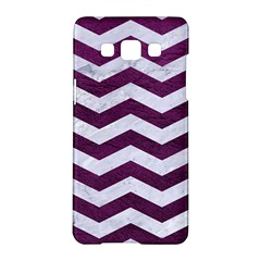 Chevron3 White Marble & Purple Leather Samsung Galaxy A5 Hardshell Case