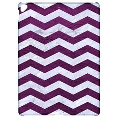 Chevron3 White Marble & Purple Leather Apple Ipad Pro 12 9   Hardshell Case by trendistuff