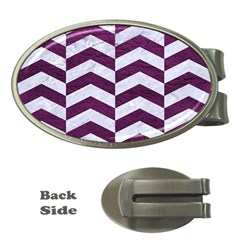 Chevron2 White Marble & Purple Leather Money Clips (oval)  by trendistuff
