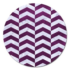 Chevron2 White Marble & Purple Leather Magnet 5  (round) by trendistuff