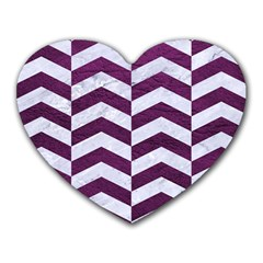 Chevron2 White Marble & Purple Leather Heart Mousepads by trendistuff