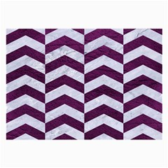 Chevron2 White Marble & Purple Leather Large Glasses Cloth