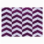 CHEVRON2 WHITE MARBLE & PURPLE LEATHER Large Glasses Cloth Front
