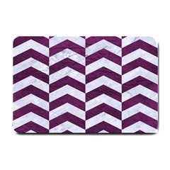 Chevron2 White Marble & Purple Leather Small Doormat  by trendistuff