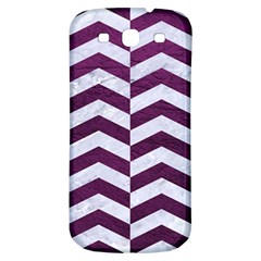 Chevron2 White Marble & Purple Leather Samsung Galaxy S3 S Iii Classic Hardshell Back Case by trendistuff