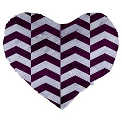 Chevron2 White Marble & Purple Leather Large 19  Premium Heart Shape Cushions by trendistuff