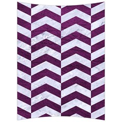 Chevron2 White Marble & Purple Leather Back Support Cushion
