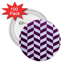 Chevron1 White Marble & Purple Leather 2 25  Buttons (100 Pack)