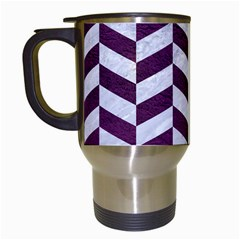 Chevron1 White Marble & Purple Leather Travel Mugs (white) by trendistuff