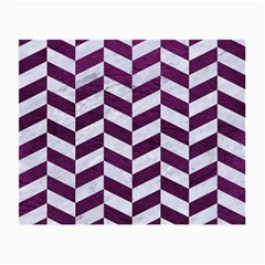 Chevron1 White Marble & Purple Leather Small Glasses Cloth