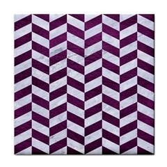 Chevron1 White Marble & Purple Leather Face Towel by trendistuff