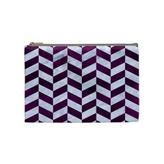 Chevron1 White Marble & Purple Leather Cosmetic Bag (medium)  by trendistuff