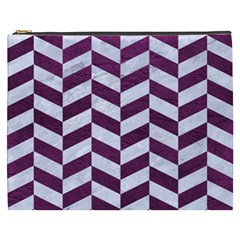 Chevron1 White Marble & Purple Leather Cosmetic Bag (xxxl)  by trendistuff