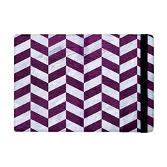 Chevron1 White Marble & Purple Leather Apple Ipad Mini Flip Case by trendistuff