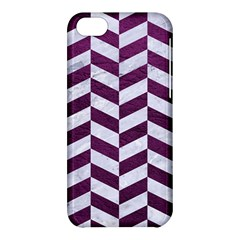 Chevron1 White Marble & Purple Leather Apple Iphone 5c Hardshell Case by trendistuff