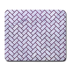 Brick2 White Marble & Purple Leather (r) Large Mousepads by trendistuff