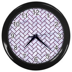 Brick2 White Marble & Purple Leather (r) Wall Clocks (black)