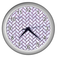 Brick2 White Marble & Purple Leather (r) Wall Clocks (silver)  by trendistuff