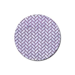 Brick2 White Marble & Purple Leather (r) Rubber Coaster (round)  by trendistuff