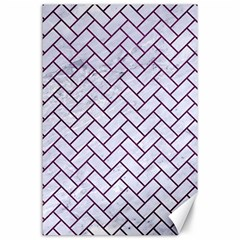 Brick2 White Marble & Purple Leather (r) Canvas 24  X 36  by trendistuff
