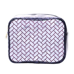 Brick2 White Marble & Purple Leather (r) Mini Toiletries Bags by trendistuff