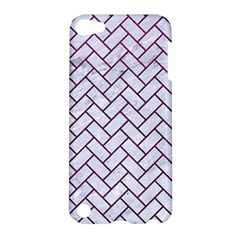 Brick2 White Marble & Purple Leather (r) Apple Ipod Touch 5 Hardshell Case by trendistuff