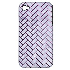 Brick2 White Marble & Purple Leather (r) Apple Iphone 4/4s Hardshell Case (pc+silicone) by trendistuff