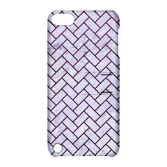 Brick2 White Marble & Purple Leather (r) Apple Ipod Touch 5 Hardshell Case With Stand by trendistuff