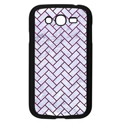 Brick2 White Marble & Purple Leather (r) Samsung Galaxy Grand Duos I9082 Case (black) by trendistuff