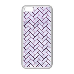 Brick2 White Marble & Purple Leather (r) Apple Iphone 5c Seamless Case (white) by trendistuff