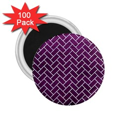 Brick2 White Marble & Purple Leather 2 25  Magnets (100 Pack)  by trendistuff