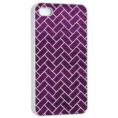 Brick2 White Marble & Purple Leather Apple Iphone 4/4s Seamless Case (white) by trendistuff