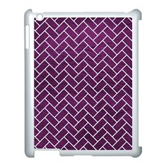Brick2 White Marble & Purple Leather Apple Ipad 3/4 Case (white) by trendistuff