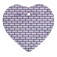 Brick1 White Marble & Purple Leather (r) Heart Ornament (two Sides)