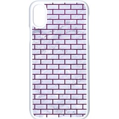 Brick1 White Marble & Purple Leather (r) Apple Iphone X Seamless Case (white)