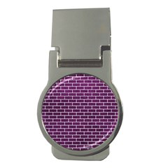 Brick1 White Marble & Purple Leather Money Clips (round)