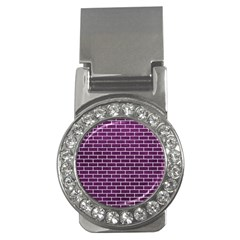 Brick1 White Marble & Purple Leather Money Clips (cz)  by trendistuff